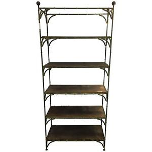 Hollywood Regency Rustic Metal Bamboo Etagere By Maison Jansen 102 7203