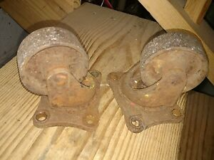 Antique Vintage Bond Cast Iron Casters