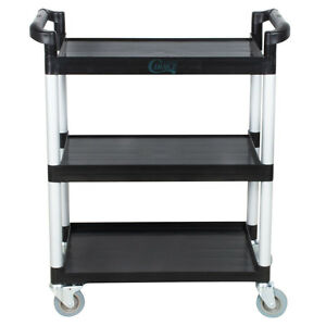 32 X 16 X 38 Black 3 Shelf Utility Bus Cart Heavy Duty Restaurant Catering