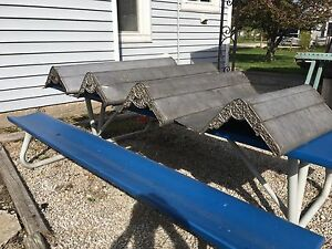 Set Of 4 Antique Victorian Zinc Window Awning Architectural Salvage Canopies Vtg