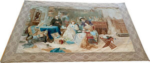 Antique Tapestry With Original Painting On Velvet Beverly Hills Estate