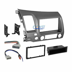 Car Radio Stereo Single 2 Din Taupe Dash Kit Harness For 2006 2011 Honda Civic