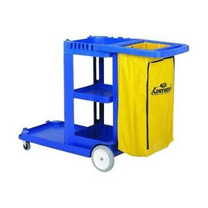 Continental Janitorial Cart Cleaning Tools Mop Cart Caddies Bag Trash Rolling