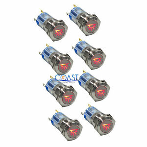 8x Durable Steel 12v 16mm Car Push Latching Button Red Dome Light Led Switch
