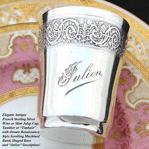 Antique French Sterling Silver Wine Or Mint Julep Cup Julien Inscription