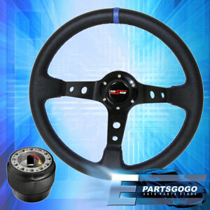 350mm Deep Dish Black Steering Wheel Blue Stitching Adapter For 88 91 Civic