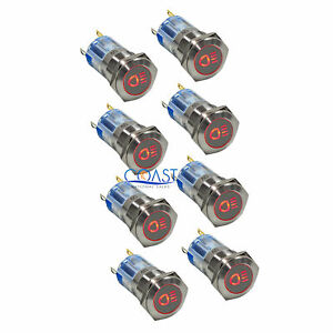 8x Durable Steel 12v 16mm Car Push Latching Button Red Driving Light Led Switch