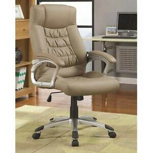 Home Office Task Swivel Executive Chair Upholstery Height Adjustable Taupe Pu