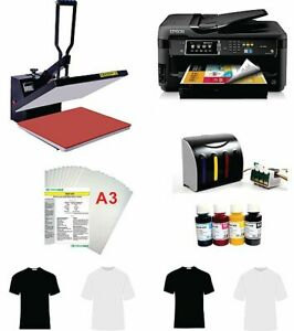 16x20 T shirt Heat Press Machine Epson Printer 7610 7710 11 x17 Ciss Kit