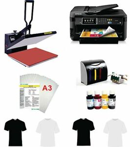 16x20 T shirt Heat Press Machine Epson Printer 7610 11 x17 Ciss Kit