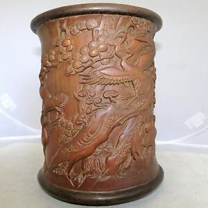 Vintage 6 95 Chinese Carved Giant Bamboo Brush Pot W Crane Birds