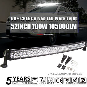 Curved 52inch 700w Cree Led Work Light Bar Flood Spot Truck Offroad Driving 6d