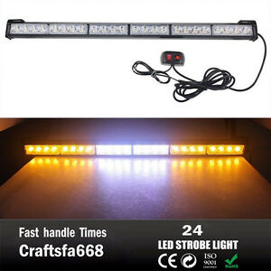 Car 24 Led White Amber Emergency Warning Traffic Advisor Flash Strobe Light Bar