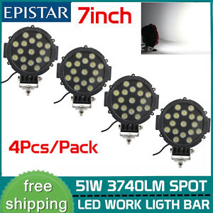 4x 7inch 51w Offroad Round Led Pods Work Light Suv Truck 4wd Backup Fog Lamp Blk