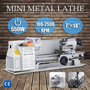 7 X 14 mini Metal Lathe Machine 550w Variable Speed W Heat treated Lathe Bed