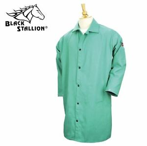 Revco Fr Shop Welding Coat Jacket 42 Green Black Stallion 9oz Cotton Lg 2xl 3xl
