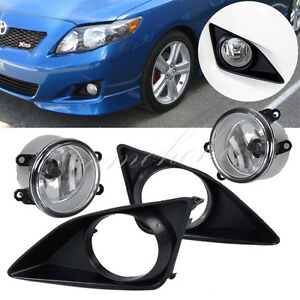 For Toyota Corolla 2009 2010 Front Bumper Clear Lens Fog Lights Grille Cover