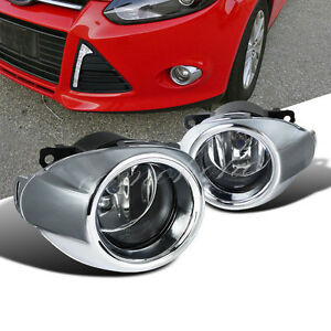 2012 2014 Ford Focus Bumper Fog Lights Driving Lamps W Bezel Chrome Grille Cover