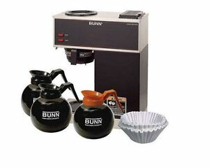 Automatic Bunn 12 cup Coffee Maker Pourover Brewer Package Set W 2 tier Warmer