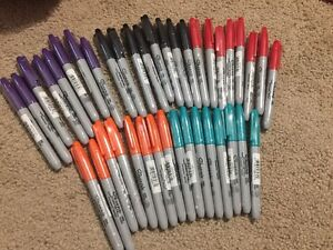 Sharpie Permanent Markers Fine Point Assorted Colors 40 Total All New And Seal