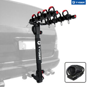 Tyger 4 Bike Carrier Rack Fits Both 1 1 4 And 2 Hitch Receiver Black W Lock