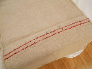 Perfect 19x53 Vtg Antique Red Stripe European Hemp Linen Feed Sack Grain Bag