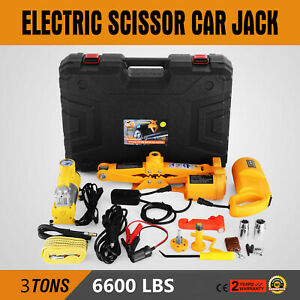 3 Ton Automotive Electric Scissor Car Jack Lift 12v Car Floor Jack 1 2 Impact