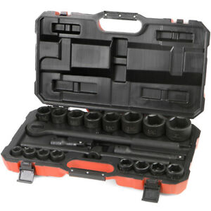 21 Pc 3 4 Dr Inch Drive Tool Black Impact Ratchet Socket Set Standard Size Sae