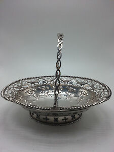 English Sterling Small Handled Pierced Basket