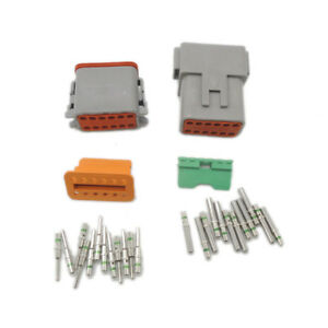 Deutsch 5pcs Dt 12 Pin Electrical Plug Connector Kit 14 Ga Solid Contacts