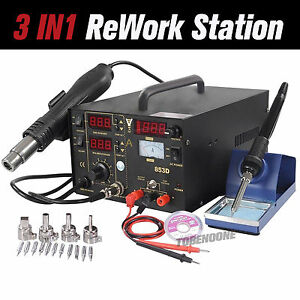 853d 3 In 1 Soldering Rework Station Smd Solder Iron Hot Air Gun Dc Power Supply