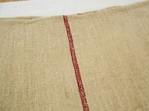 Burgandy 23x45 Vtg Antique Dark Red Stripe Hemp Linen Fabric Feed Sack Grain Bag