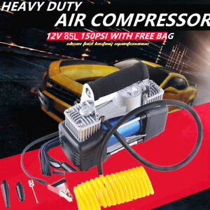 Yellow Portable Hose Compressor Electric Car Tire Air Inflator Pump 12v 150psi