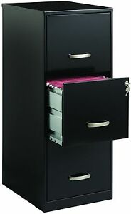 Office Designs 3 Drawer Black Steel File Filing Cabinet brand New