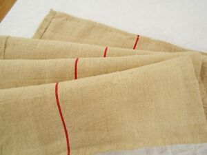 Perfect Vtg Antique Red Stripe European Hemp Linen Homespun Feed Sack Grain Bag