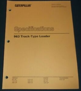 Cat Caterpillar 963 Track Loader Specifications Service Shop Repair Book Manual