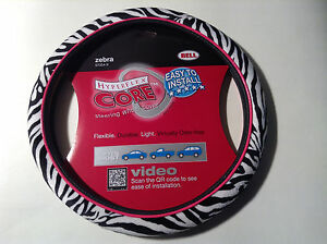 Bell 97054 9 Steering Wheel Cover Zebra Pattern W Pink