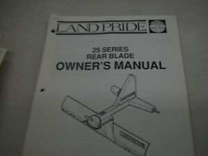 Land Pride Owner s Parts Manual 25 Series Rear Blade