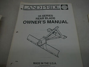 Land Pride Owner s Parts Manual 35 Series Rear Blade