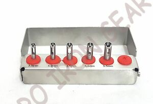 5 Pcs Dental Implant Tissue Punch Kit Set Surgical Surgery With Bur Holder