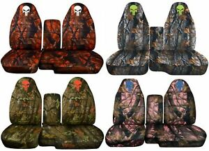 60 40 Hi Back Truck Seat Covers Fit 91 03 Ranger W Console camouflage W Skull