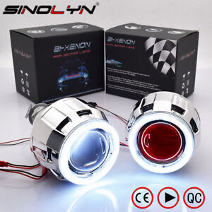 2 5 Cob Led Angel Eyes Halo Hid Bi Xenon Projector Lens Car Headlight Kit H4 H7