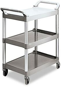 3 tier Utility Cart Shelf Hand Truck Rolling Service Flat Surface Dolly Platinum