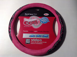 Bell 97309 9 Steering Wheel Cover Floral Lace Pink