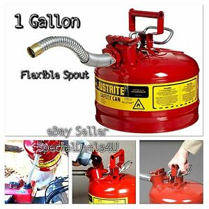 Steel Gas Can Safety Red 1 Gallon Jerry Metal Gasoline Diesel Flexible Type Ii