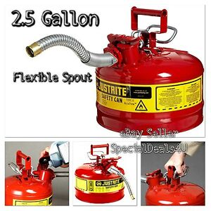 Steel Gas Can Safety Red 2 5 Gallon Jerry Metal Gasoline Diesel Flexible Type Ii