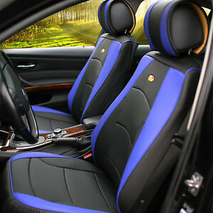 Leather Auto Seat Covers Cushion Pad Front Buckets Suv Sedan Van Blue Black