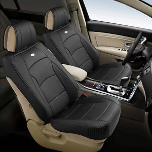 Leather Auto Seat Covers Cushion Pad Front Buckets Suv Sedan Van Solid Black