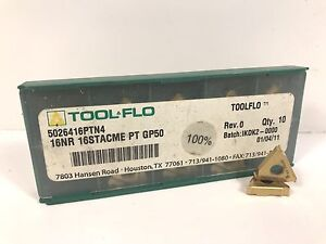 Tool flo 16nr 16stacme Pt New Carbide Inserts Grade Gp50 9pcs T