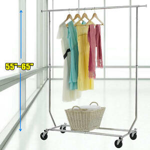 New 110lb Adjustable Garment Rack Heavy Duty Clothes Hanger Portable Rail Rack E